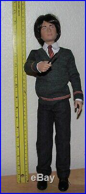 EUC- 17 Harry Potter Doll-Full outfit with Glasses & Wand-No cape, stand/ boxes
