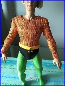 Tonner AUQAMAN DC STARS 18 Vinyl DOLL in his one piece AquaMan outfit withGloves